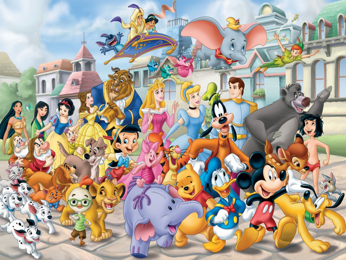 wallpapers wallpaper download many disney characters disney 1366x1024
