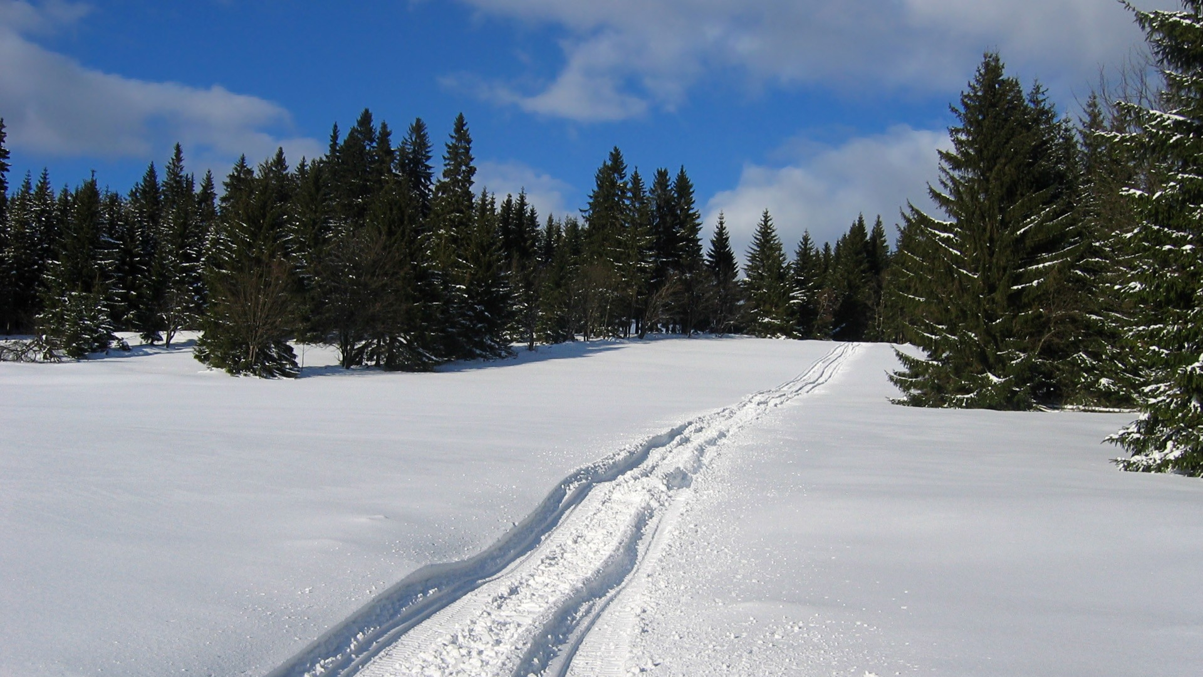 Download Wallpaper 3840x2160 Snow Trail Winter 4K Ultra HD HD 3840x2160