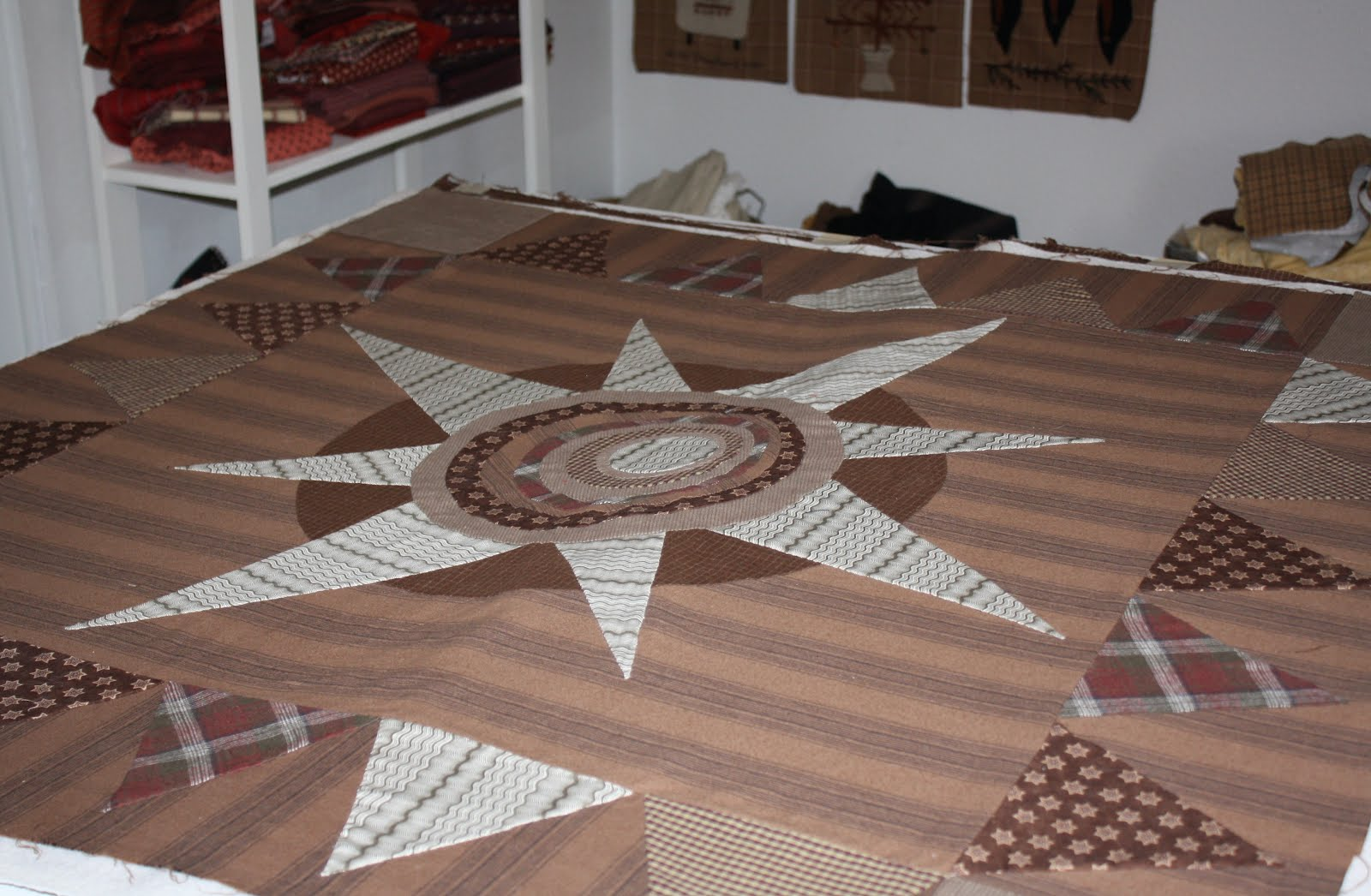 The Primitive Star Burst on my sewing table to be spray basted and 1600x1046