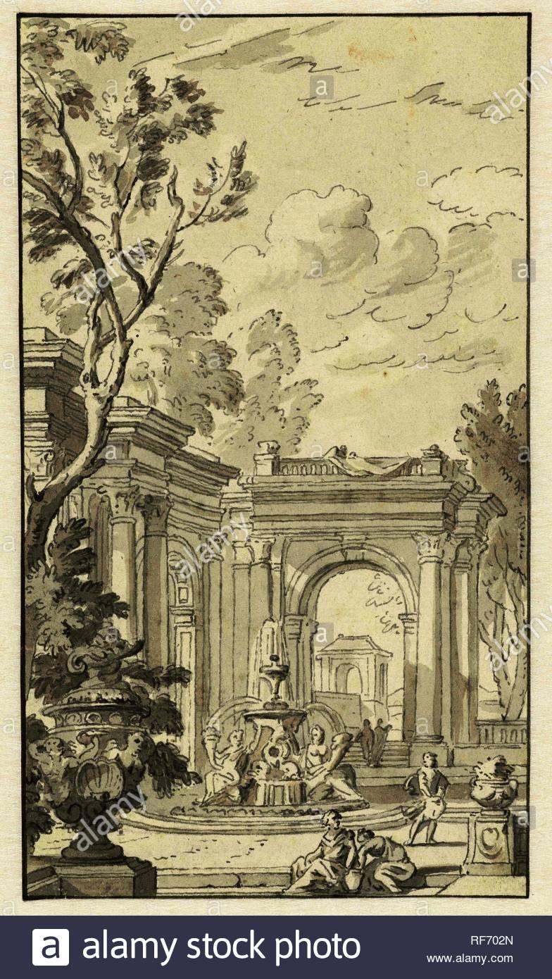 Design for a wallpaper Draughtsman Isaac de Moucheron possibly 784x1390