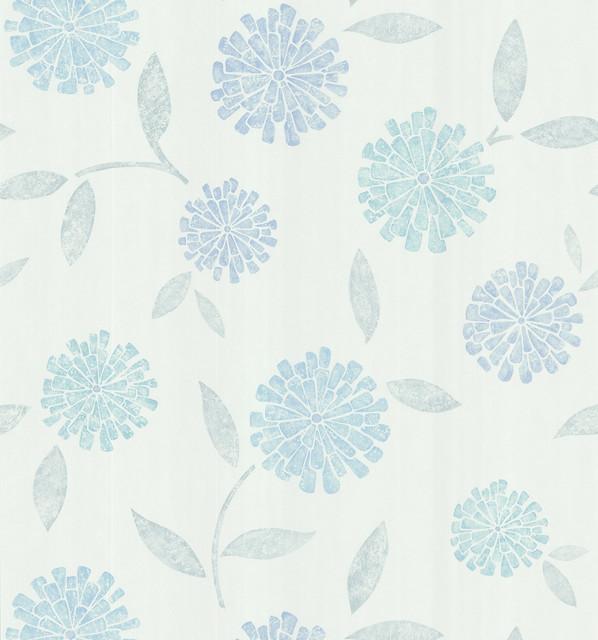 Modern Blue Floral Wallpaper Aqua modern floral wallpaper 598x640