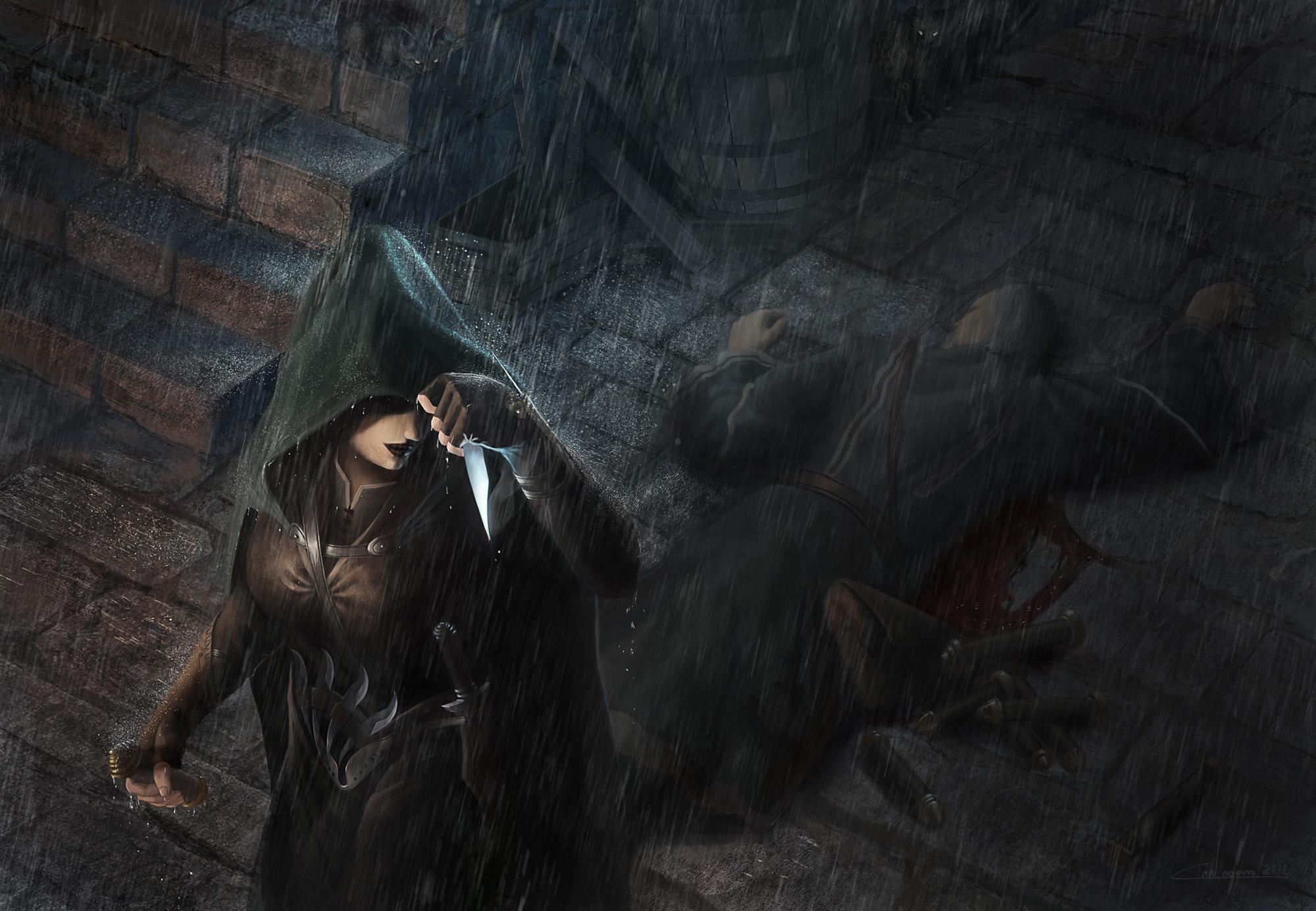 killer coat girl assassin art wallpaper background 2000x1385