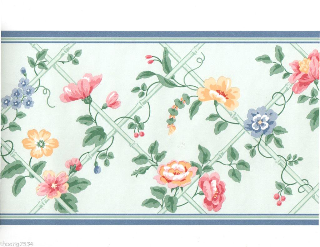 Blue Green Bamboo Lattice Rose Vine Pink Orange Floral Flower Wall 1024x793