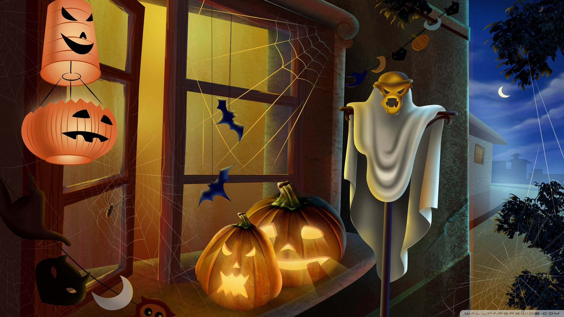 Spooky House Bats Scary Pumpkin Spider Web Hallowmas Halloween 1920x1080