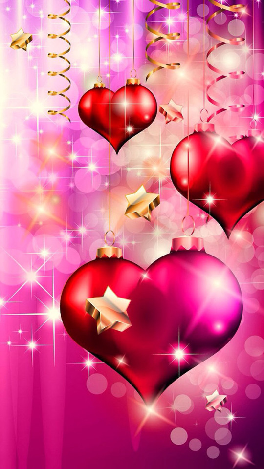 Pink Christmas Love Hearts Wallpaper   iPhone Wallpapers 540x960