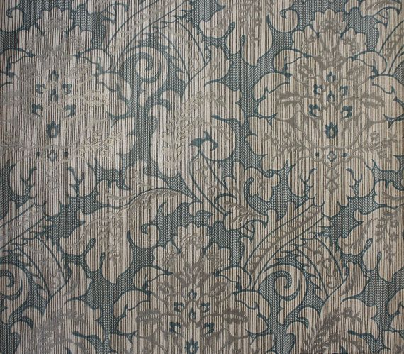 Embossed White Damask on Blue Vintage Wallpaper  Made in England 570x499