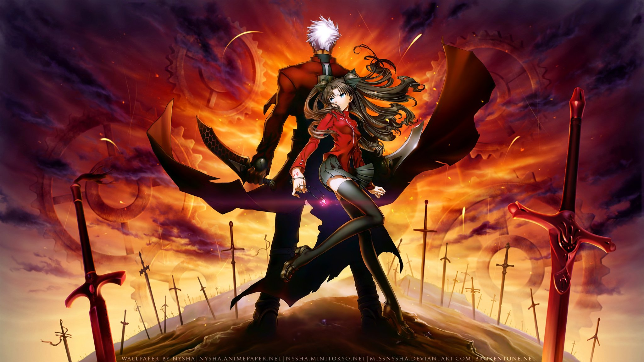 Free Download Tohsaka Rin Unlimited Blade Works Watermark Wallpaper Background 48x1152 For Your Desktop Mobile Tablet Explore 48 Unlimited Blade Works Wallpaper Fate Stay Night Saber Wallpaper Fate Stay