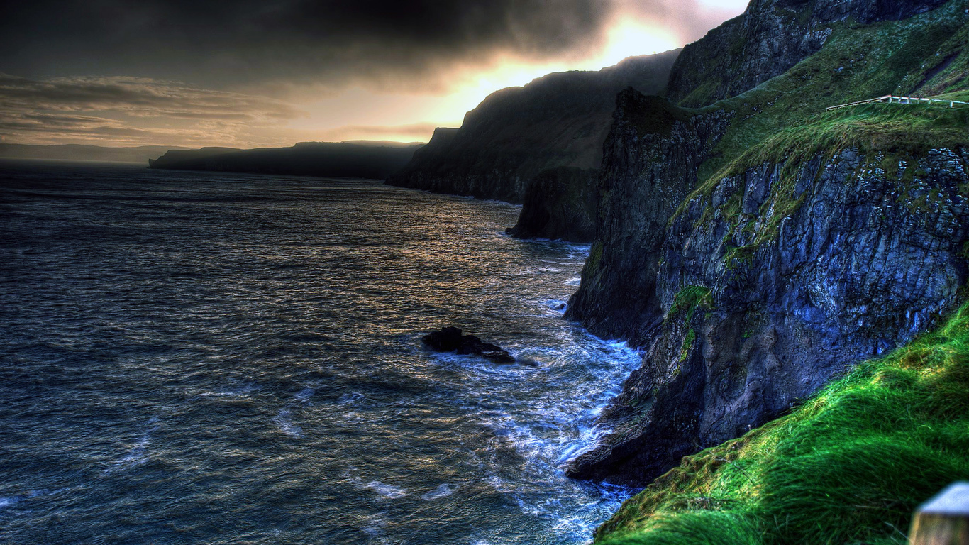 The wallpaper of amazing coastline of Ballintoy in Northern 1366x768
