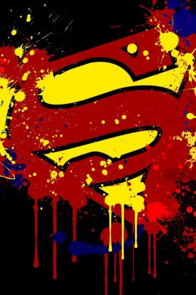 Paint Splash Superman Logo Wallpaper   iPhone Wallpapers 640x960