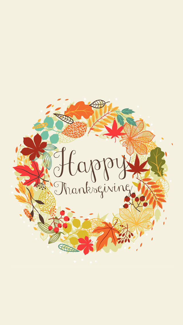 Just Peachy Designs Happy Thanksgiving iPhone Wallpaper 640x1136
