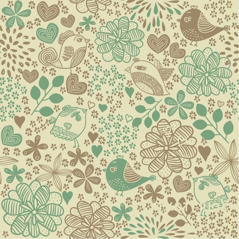 Birds in Flowers Romantic Seamless Pattern Vector Background 768x768