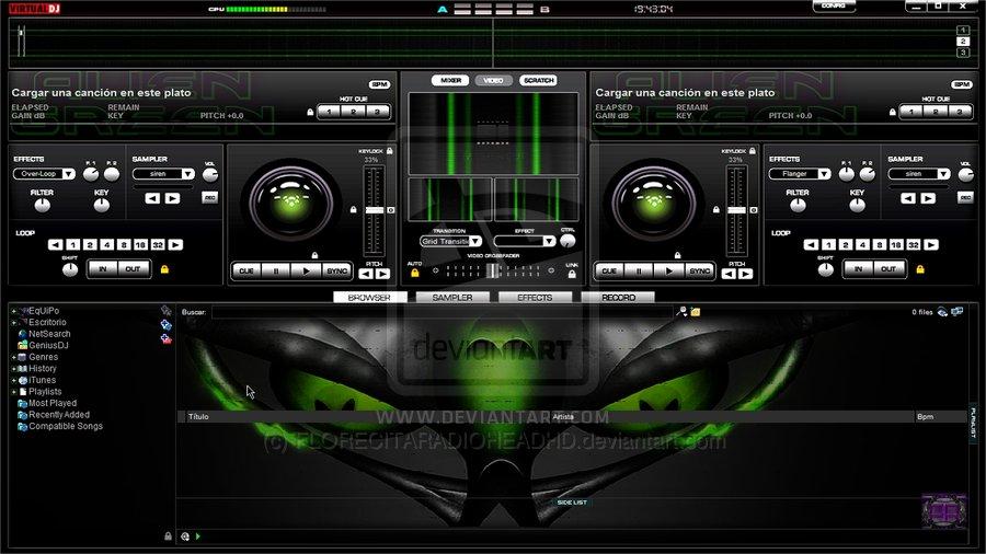 Free download Skin Green For Virtual DJ 7 By FlowerRadiohead