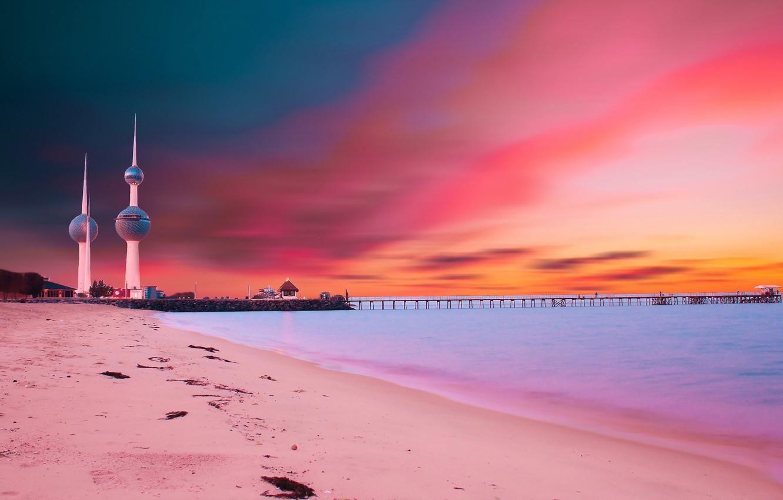 Wallpaper landscape sunset bridge kuwait towers images for 1332x850