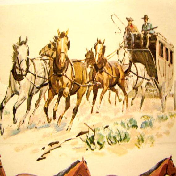 Vintage Wallpaper Western Horse Tack Paper Border Sam Savitt 570x570
