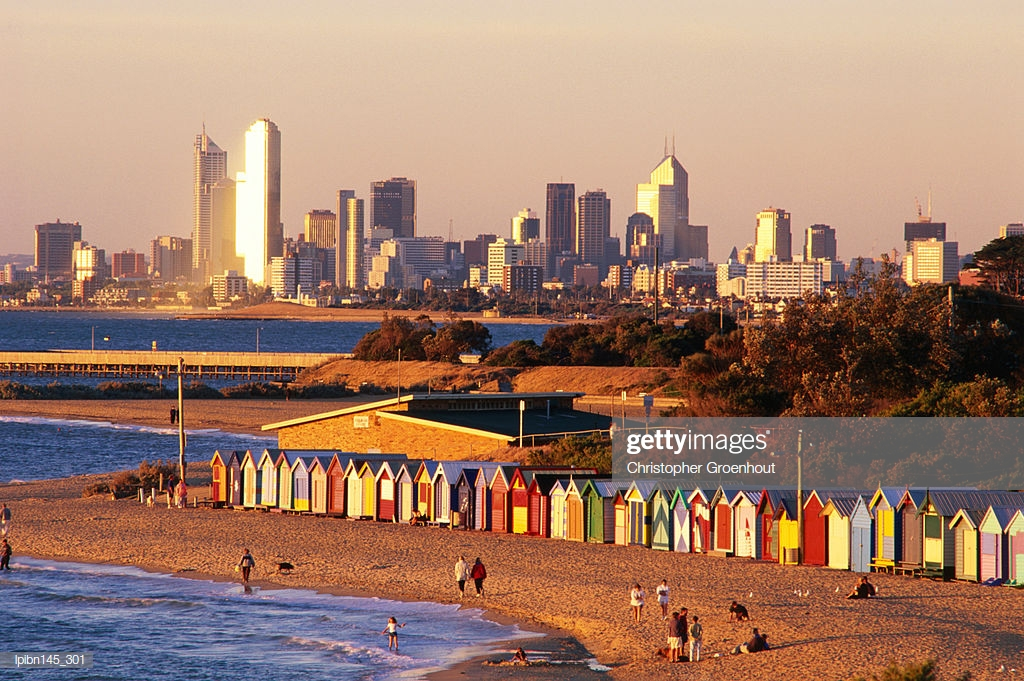 Brighton Beach Boatsheds With City In Background Melbourne 1024x681
