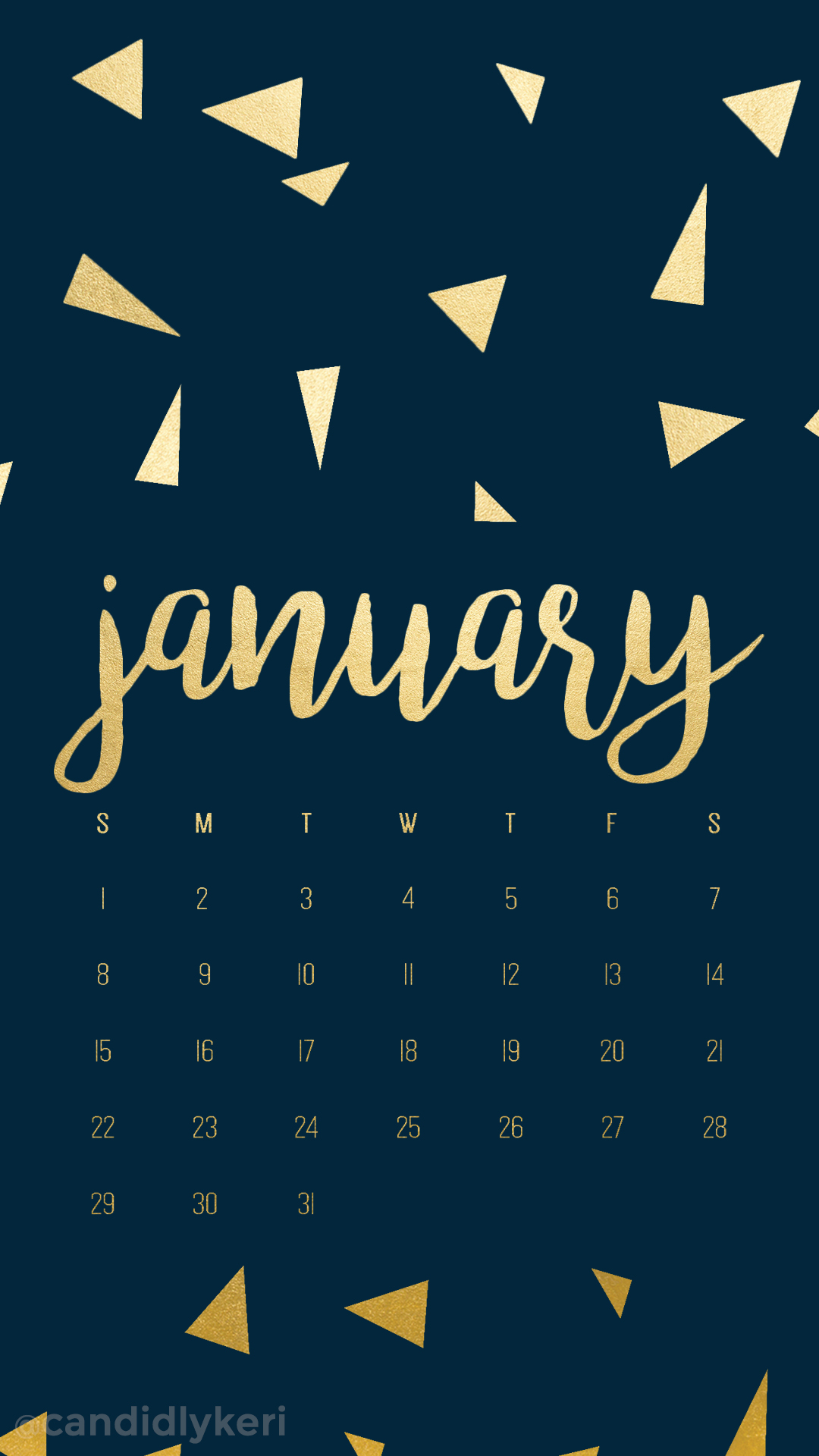 Navy and gold foil triangles January calendar 2017 1080x1920