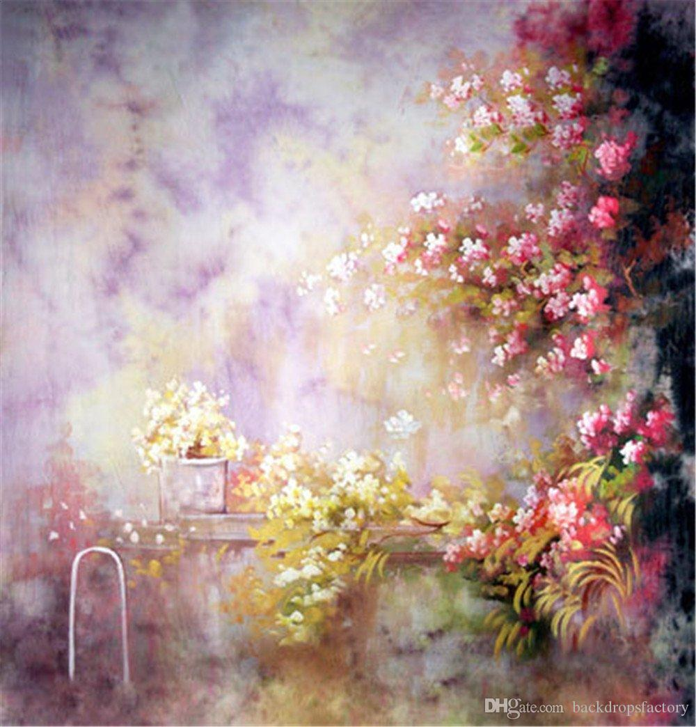 2019 Oil Painting Flowers Photography Background Vinyl Backdrops 1000x1044