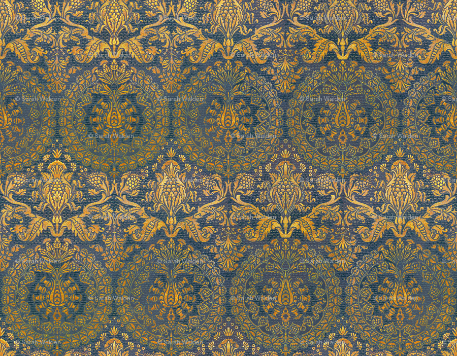 Blue And Gold Damask Wallpaper Blue and gold 900x702