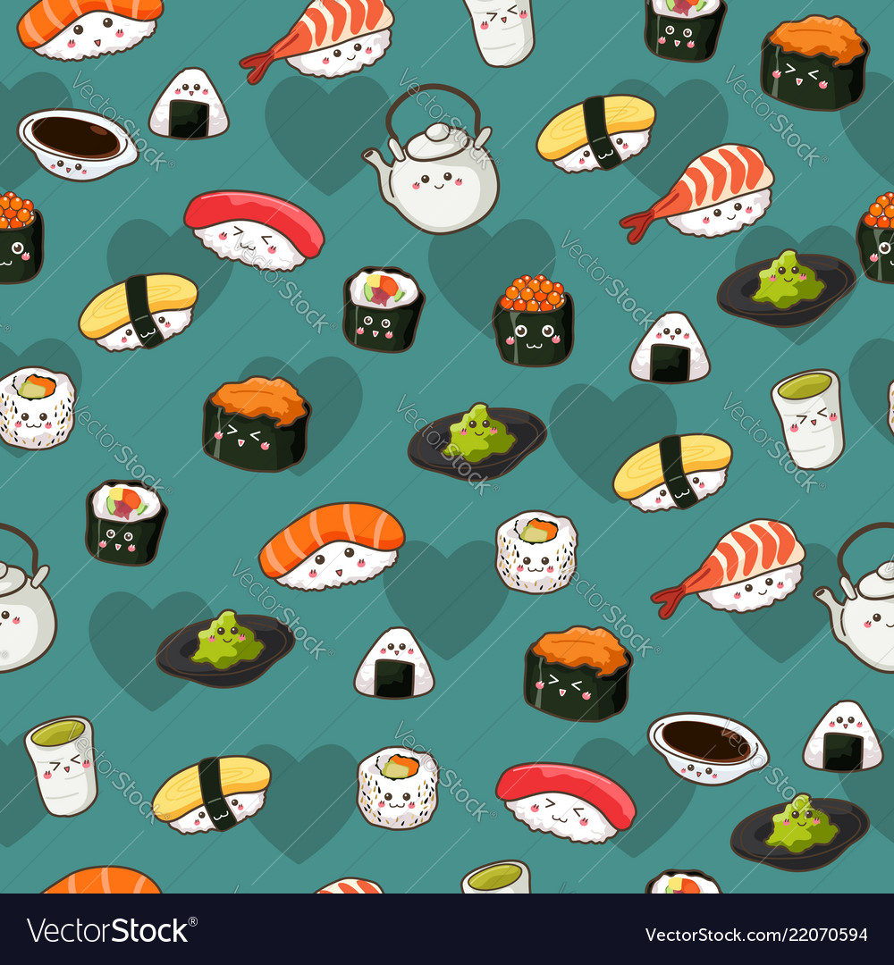 Seamless sushi pattern wallpaper background Vector Image 1000x1080