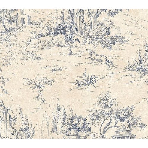Navy Blue and Cream Scenic Toile Wallpaper Kitchen Dining 500x500
