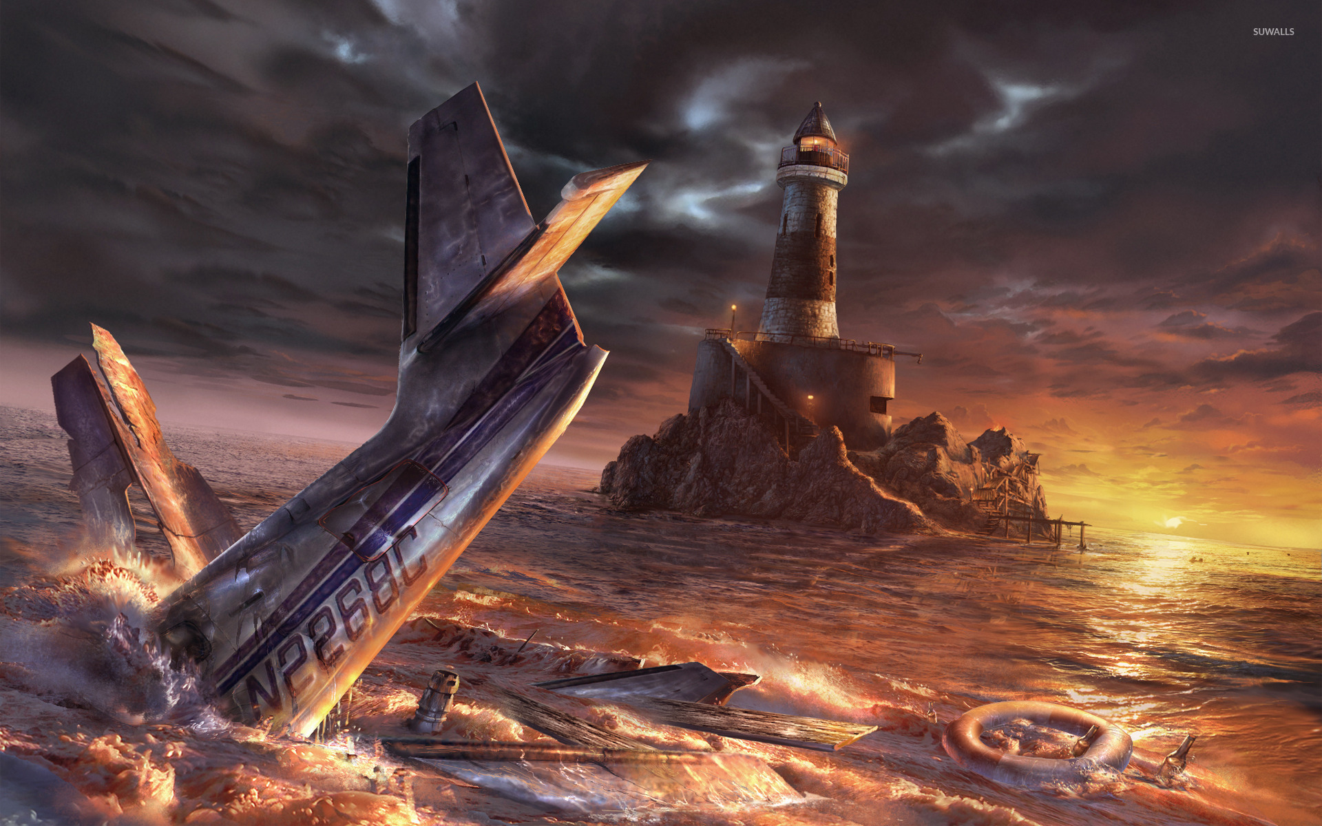 Crashed airplane near the lighthouse wallpaper   Fantasy wallpapers 1920x1200