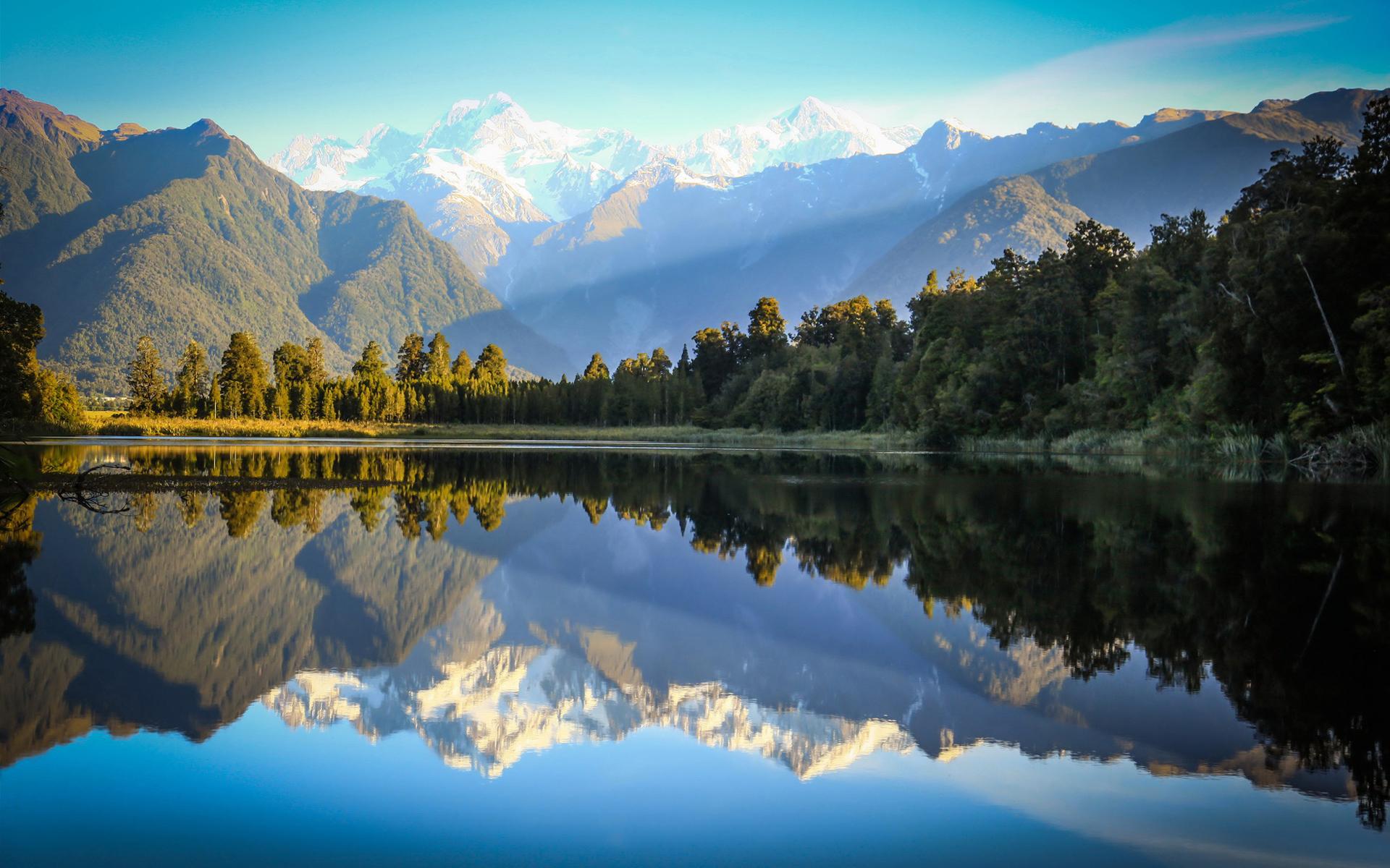New Zealand Lake Matheson Reflections HD Wallpapers 1920x1200