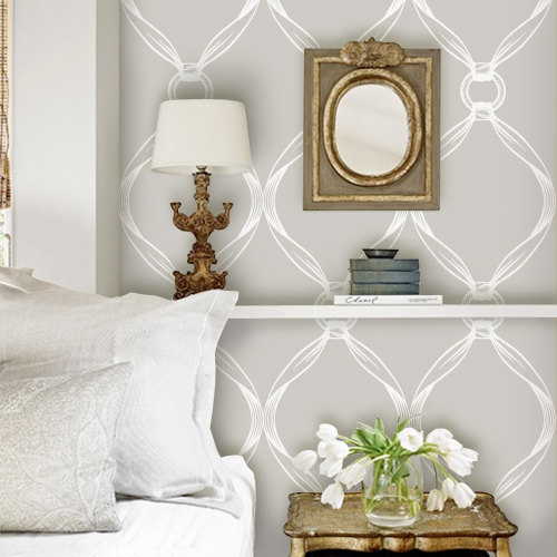 Tiffany Knots Light Grey PEEL STICK Repositionable Fabric Wallpaper 500x500