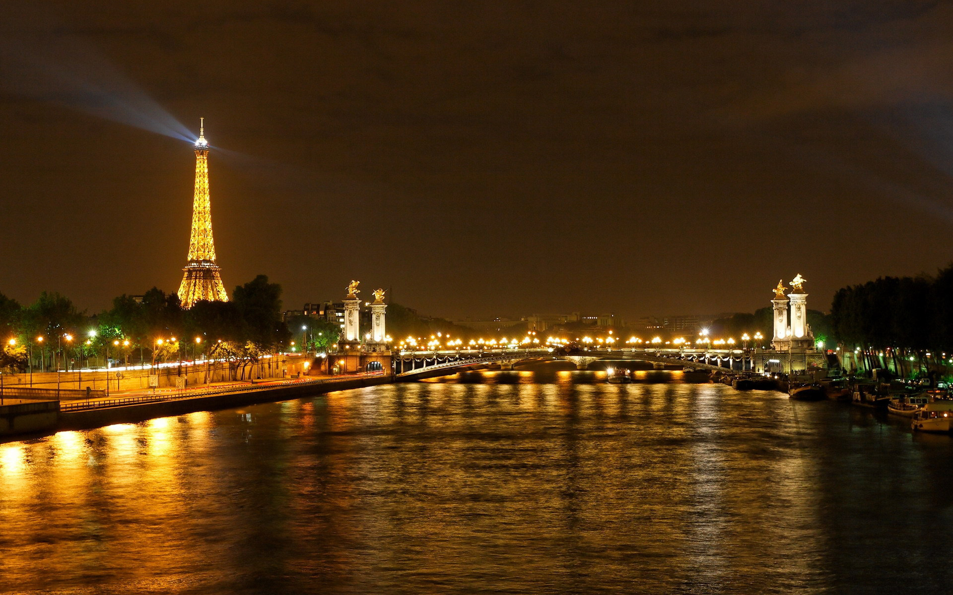 wallpaper france paris night river seine bridge Wallpaper 1920x1200
