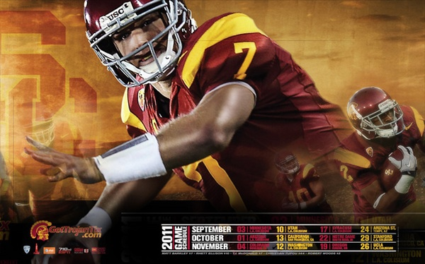 USC 2011 Football Schedule Wallpaper featuring Matt Barkley 600x374