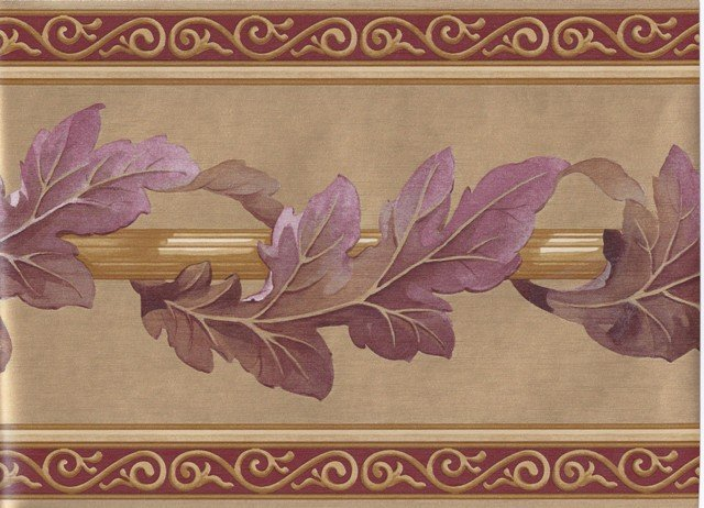 Gold Bordo Leaf Column Molding Wallpaper Border   Victorian 640x462