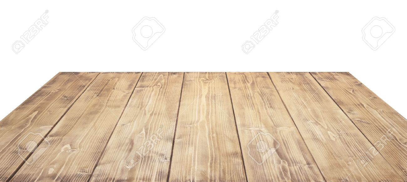 Wooden Table Top Isolated On White Background Stock Photo 1300x581