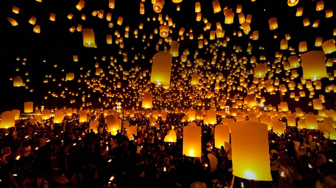 Chiang Mai Lanterns   Lanterns released into sky during a festival 1366x768
