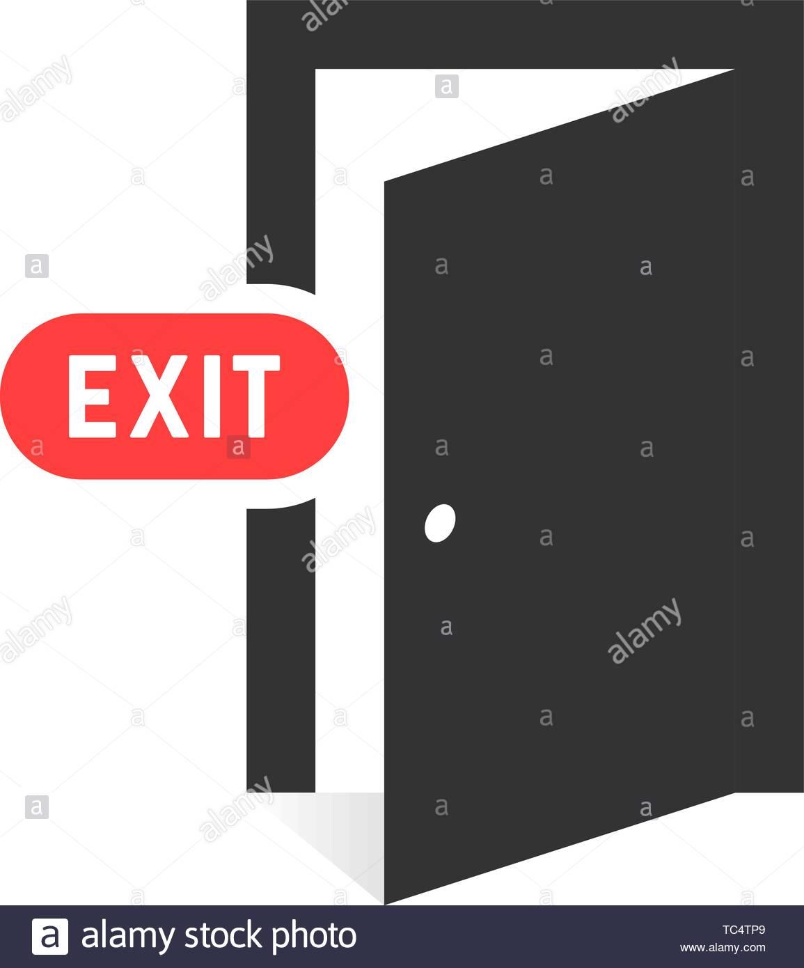 simple black exit door icon on white background Stock Vector Art 1155x1390