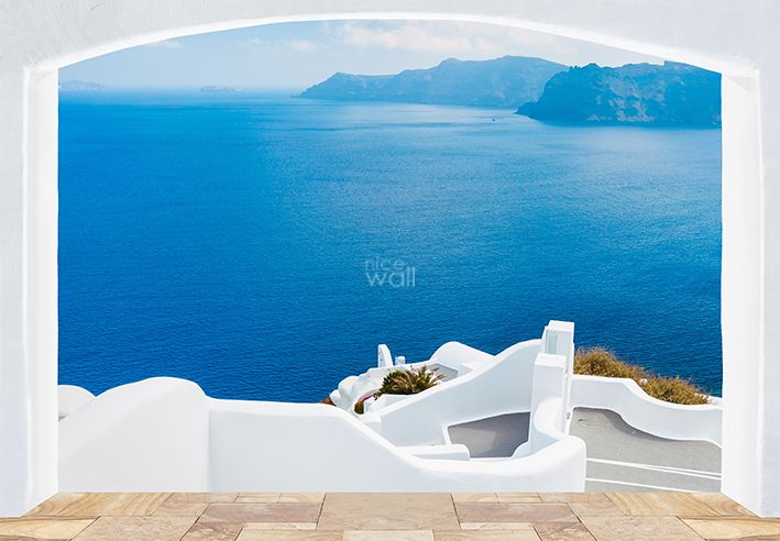 Santorini Greece coast wallpaper mural 709x492