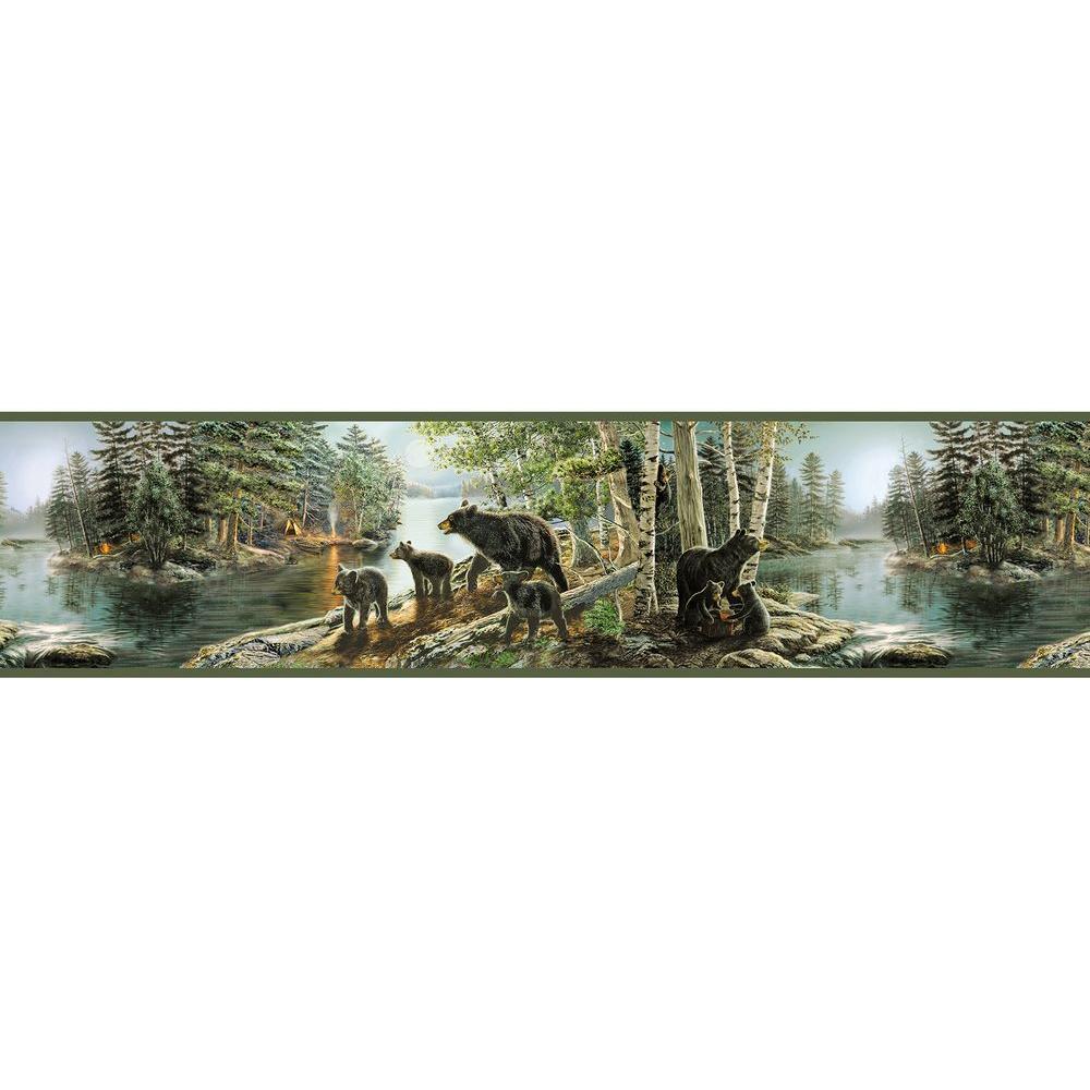 Chesapeake Salvador Green Bear Necessities Wallpaper Border Sample 1000x1000