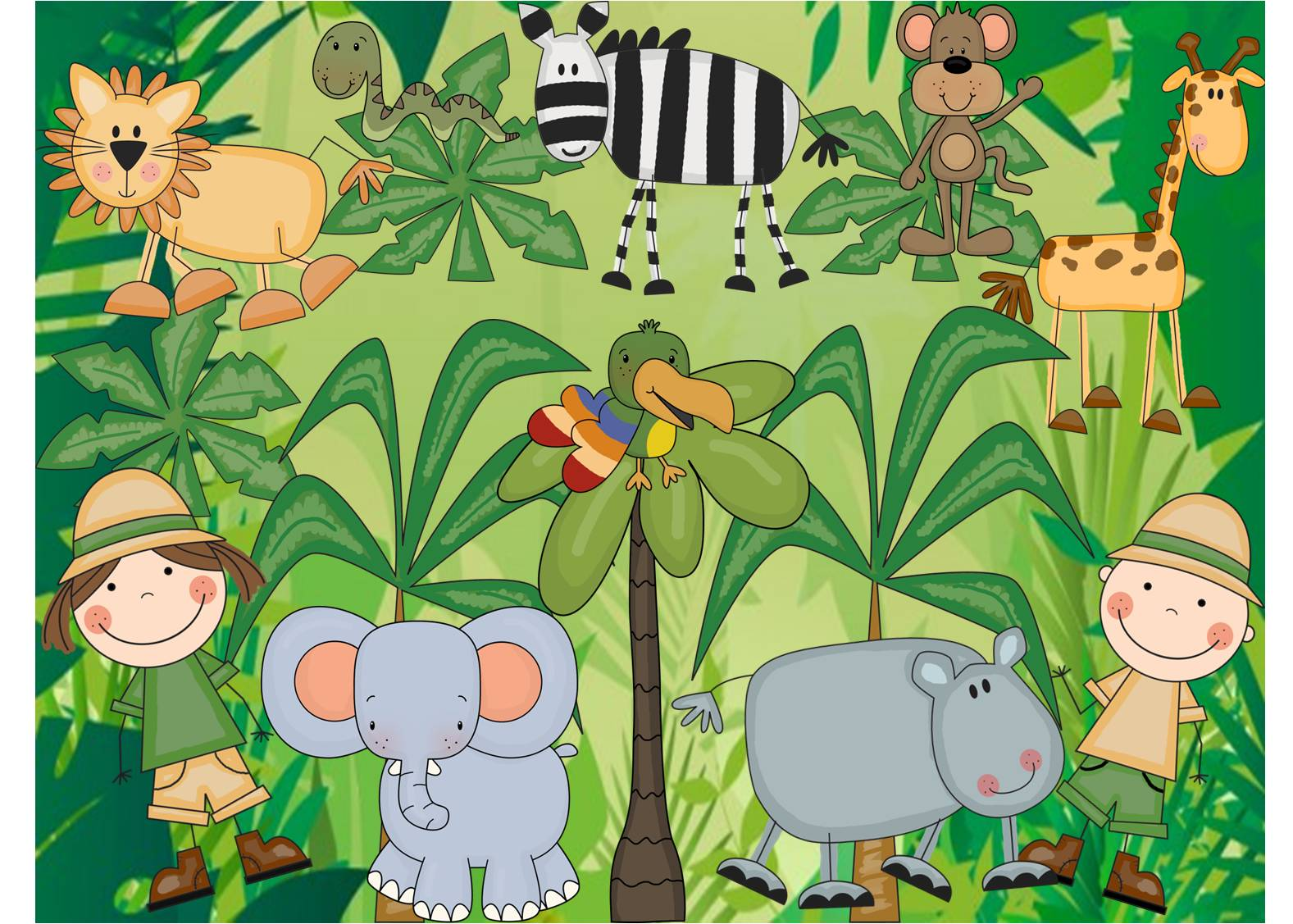Kids Wall Stickers For Bedrooms Jungle Theme Wallpaper For Kids Wallpapersafari