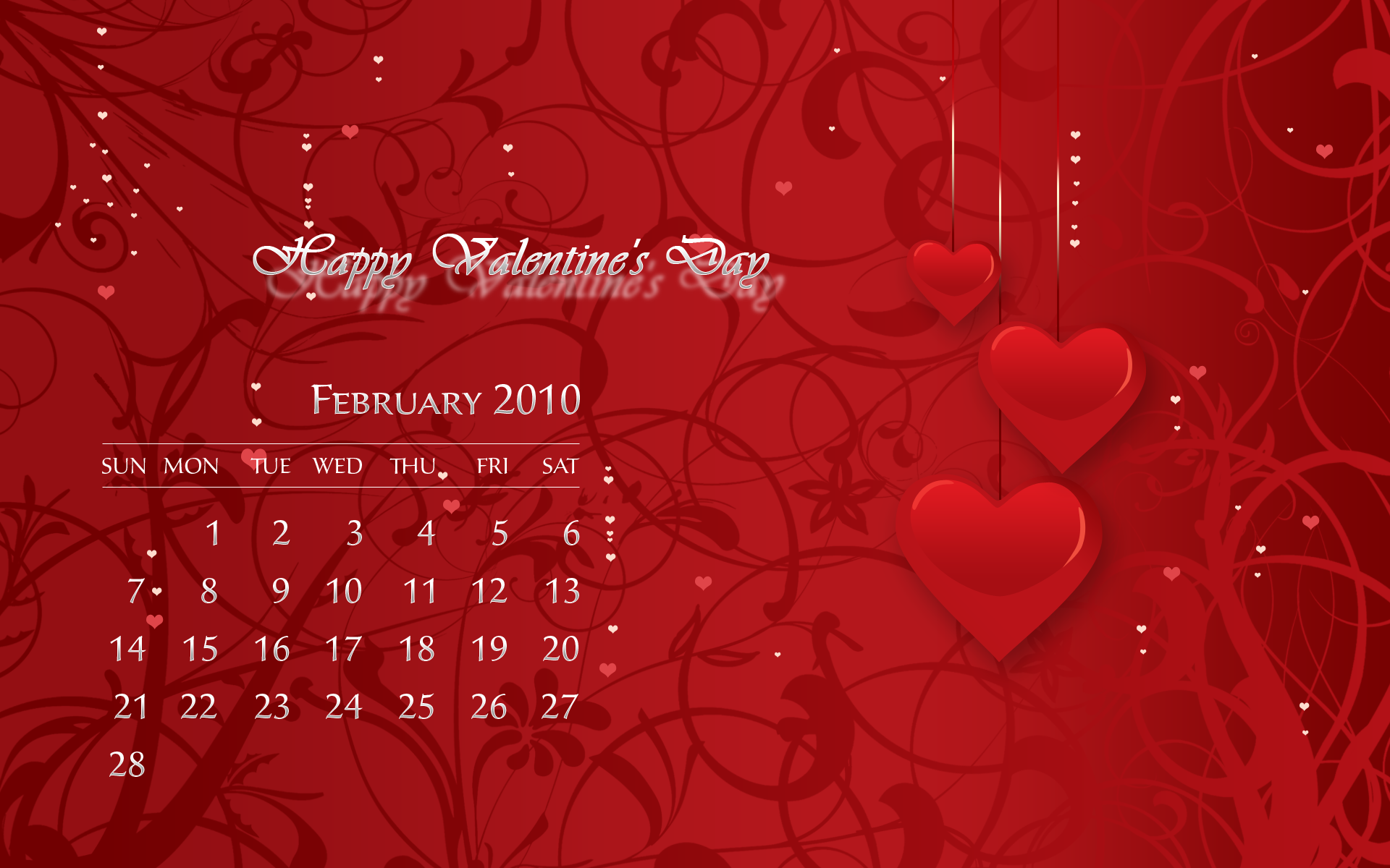 Desktop Wallpaper Calendar February 2010 Photoshop Tutorials 1920x1200