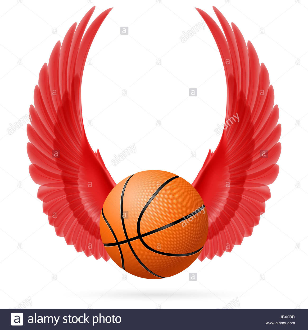 Red wings with basketball on white background Stock Photo 1300x1390