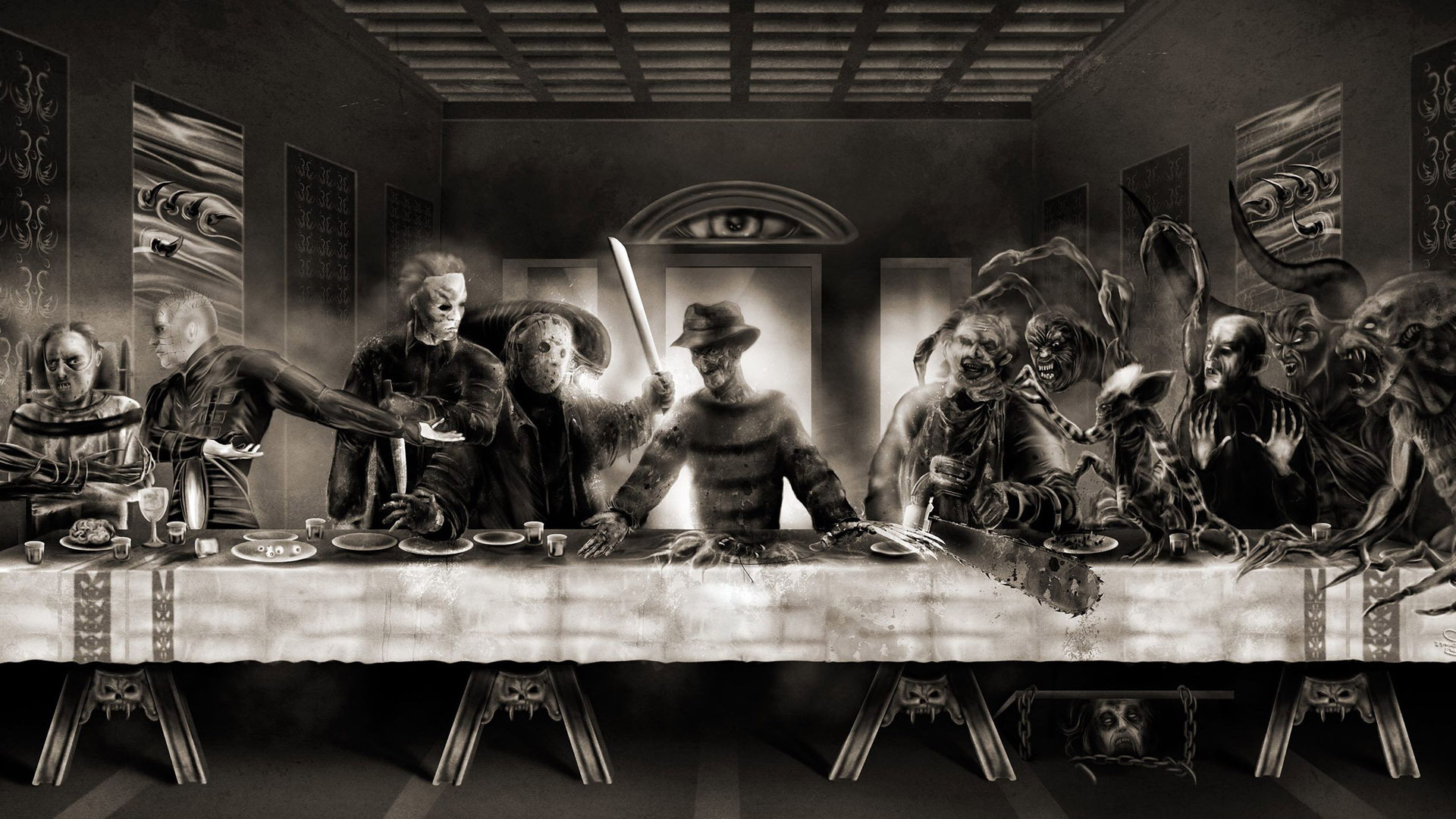 Horror Last Supper wallpaper 18864 1920x1080