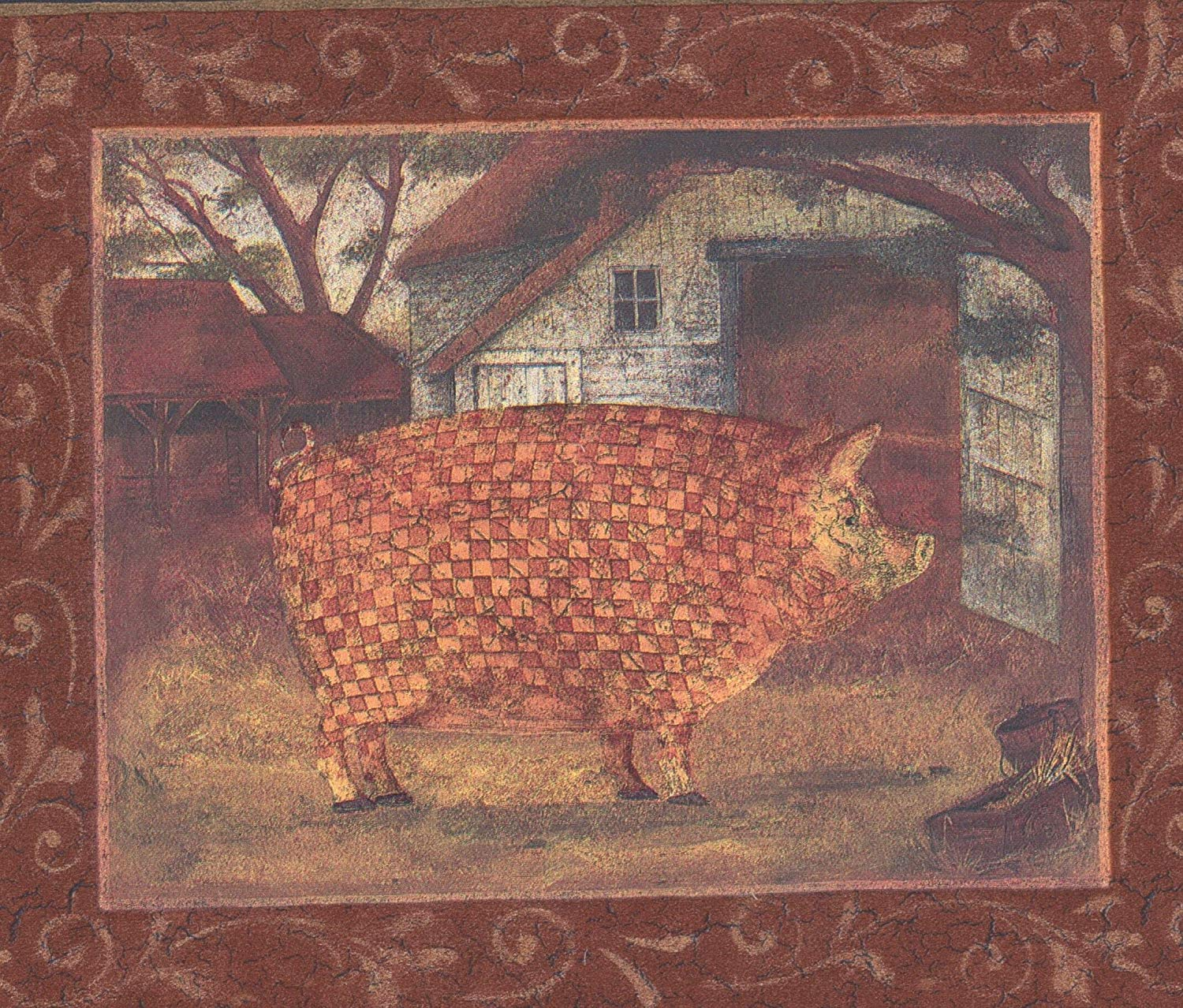 Mosaic Farm Animals Pictures on Red Wall Farmhouse Wallpaper 1500x1278