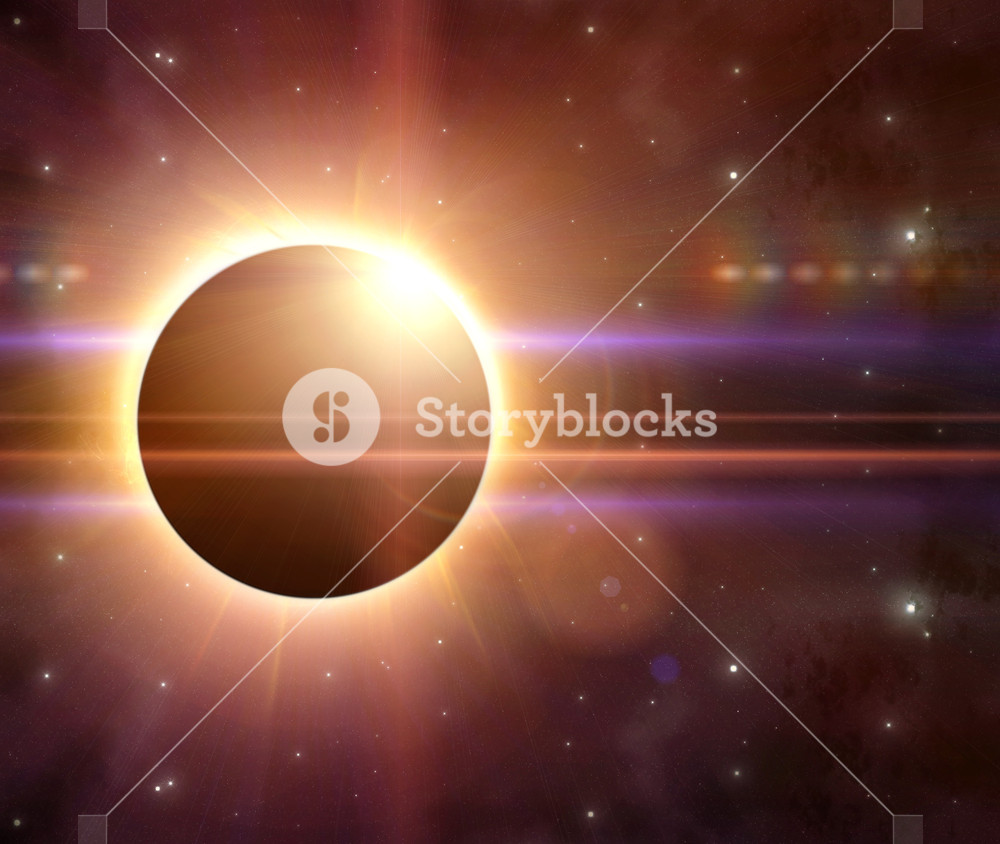 Abstract solar eclipse background with 3d rendered flares Royalty 1000x844
