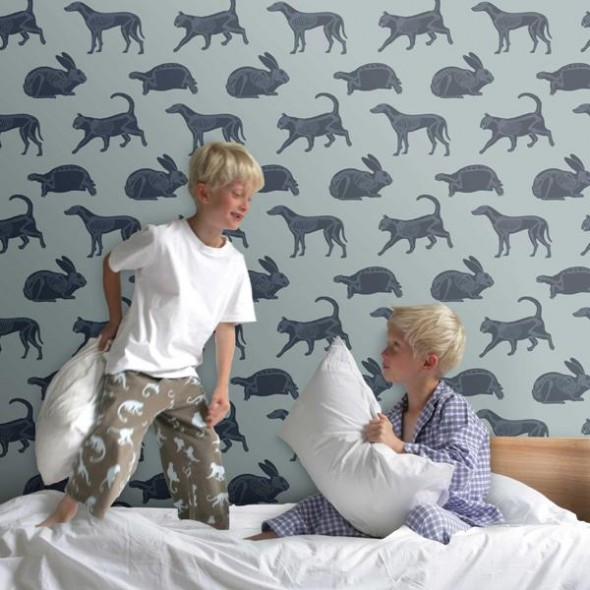 Fun and Adorable Animal Print Wallpaper for Exciting Kids Bedroom 590x590