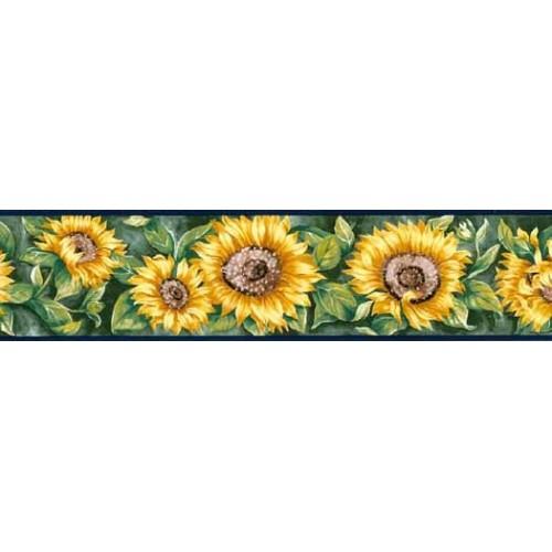 Navy Blue Sunflower Wallpaper Border 500x500