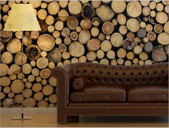Wooden Logs Wall Art POPSUGAR Home 544x411