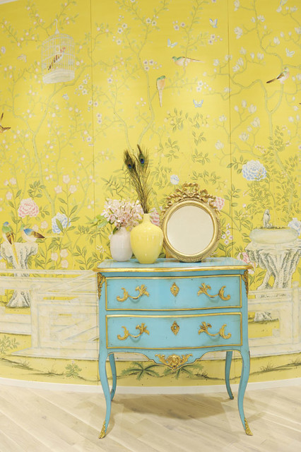 Chinoiserie Hand Painted Wallpaper   Traditional   Hall   other metro 426x640
