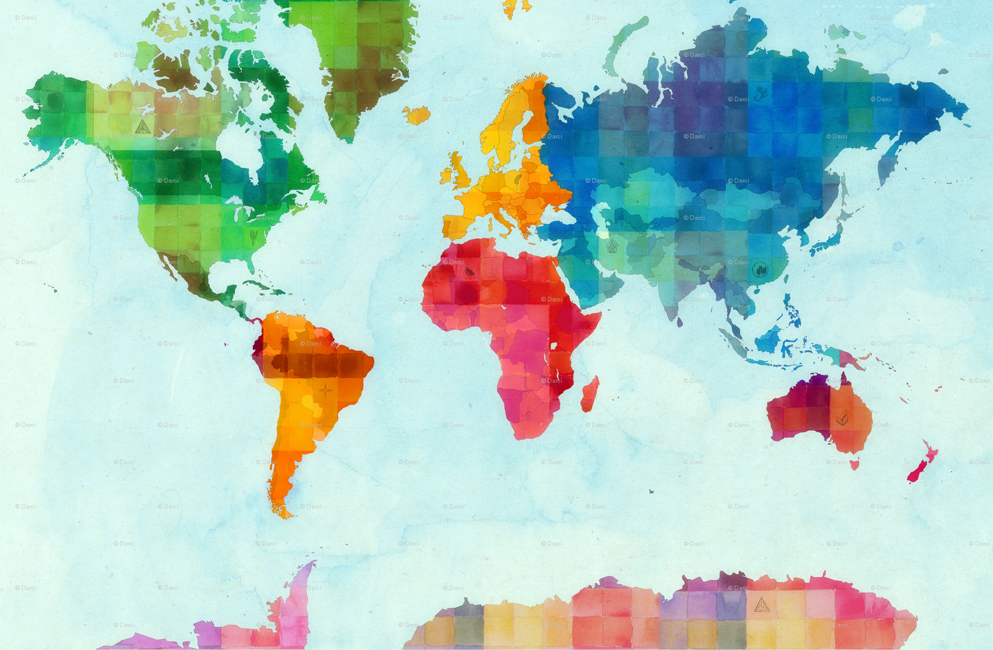 Colorful World Map Wallpaper World map 1 yard 1950x1277