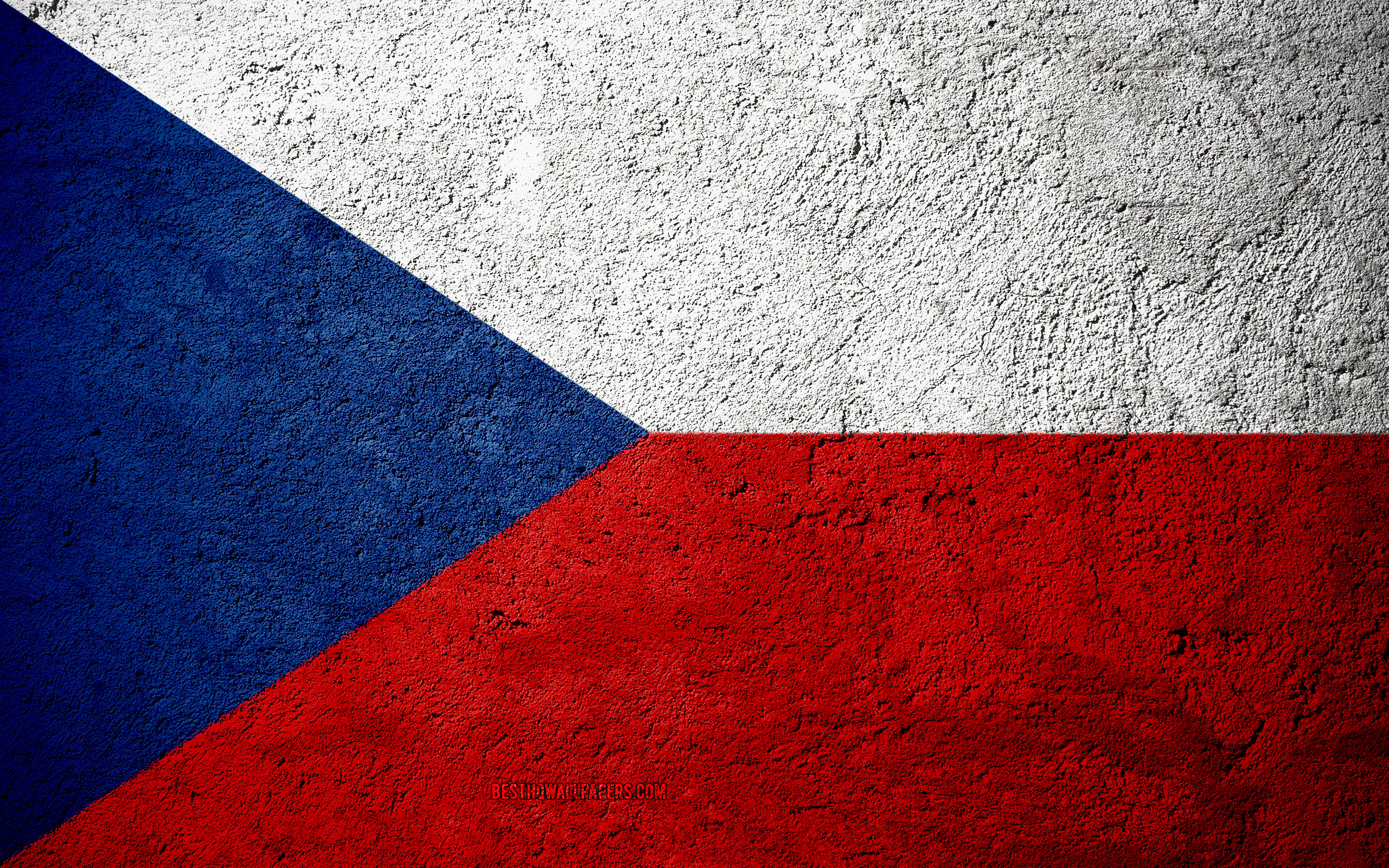 Download wallpapers Flag of Czech Republic concrete texture 2880x1800