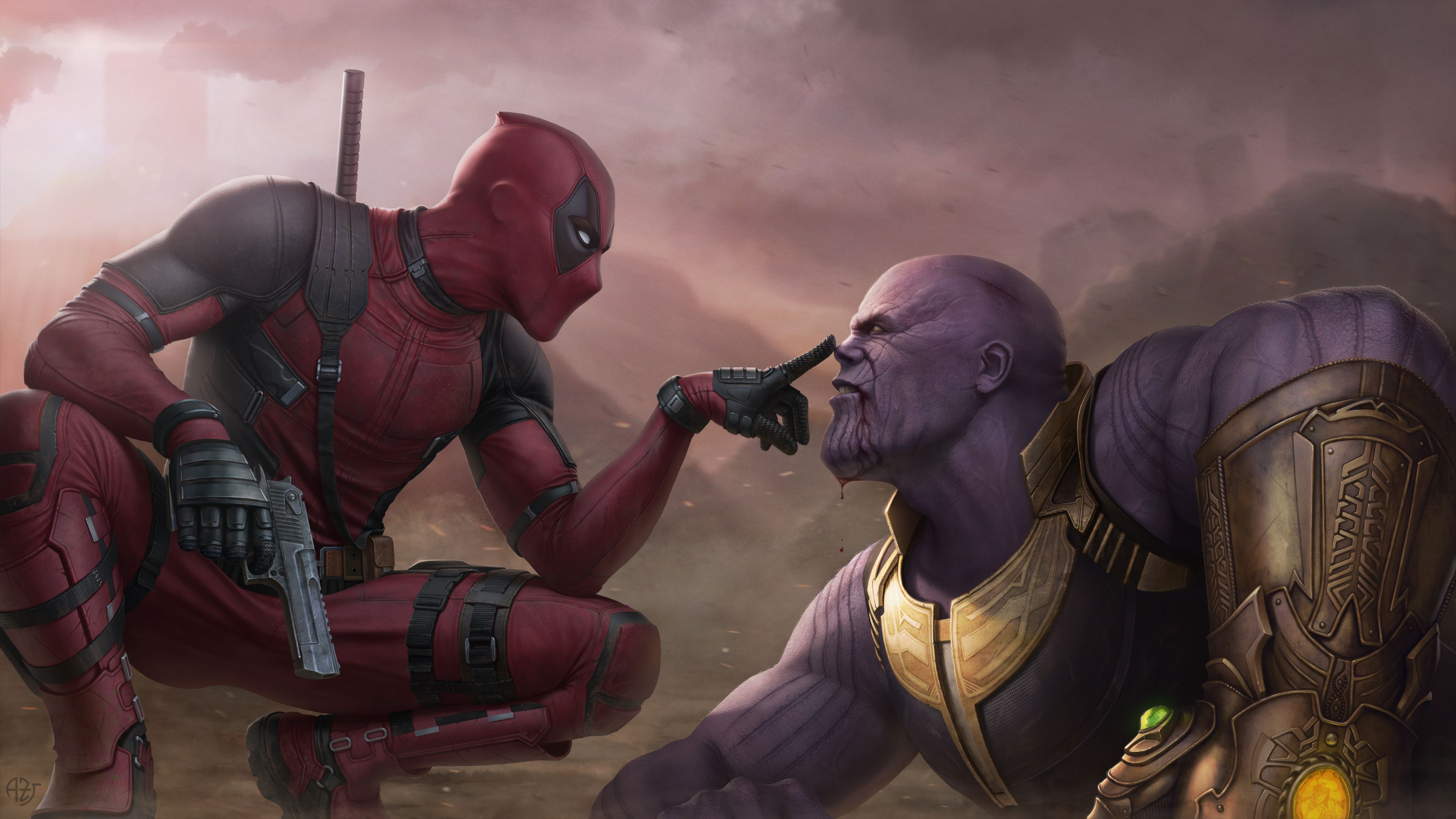 Deadpool Vs Thanos 4k thanos wallpapers supervillain wallpapers 3840x2160