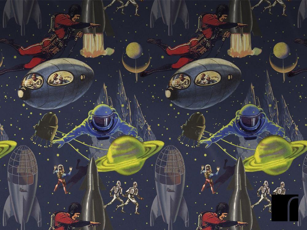Intergalactic Wallpaper The Launch Space Bedroom reroom 1000x750