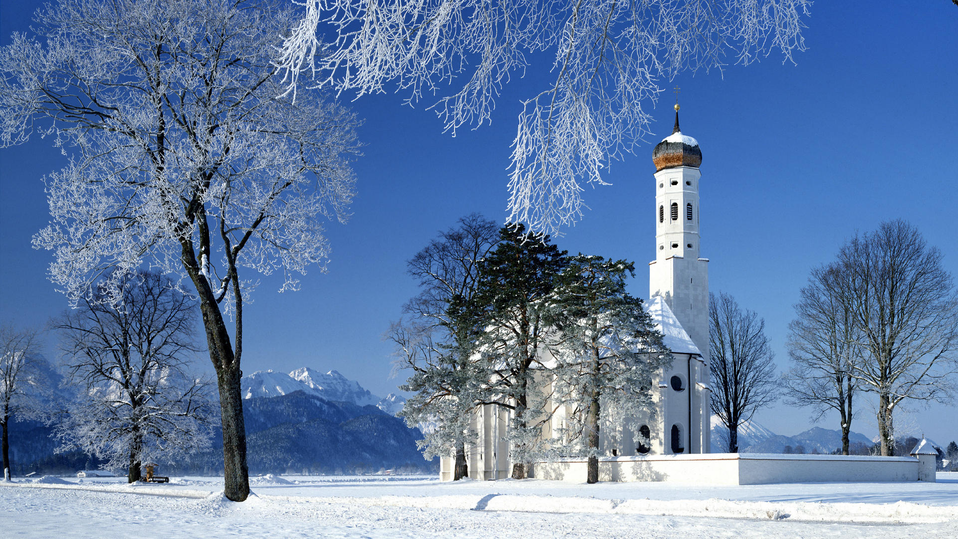 Winter Church wallpaper 1920x1080